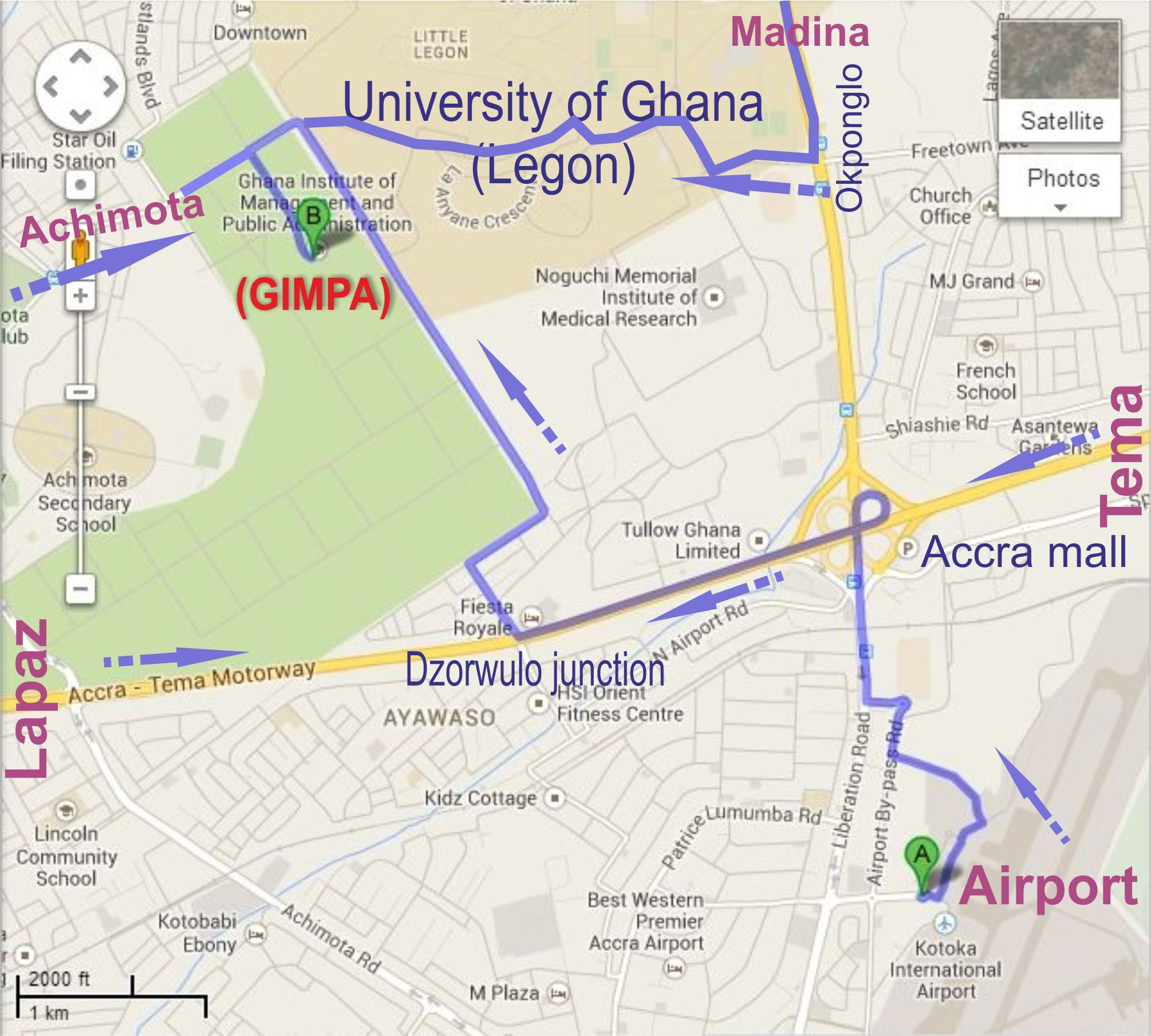 Directions to GIMPA